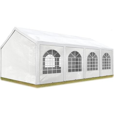 Tente Barnum de Réception 3x8 m PE Bâches amovibles 200-240 g/m² BLANC / Jardin Tonnelle Pavillon Chapiteau