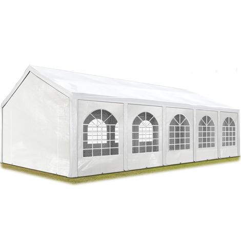 Tente Barnum de Réception 4x10 m PE Bâches Amovibles 200-240 g/m² BLANC / Jardin Tonnelle Pavillon Chapiteau