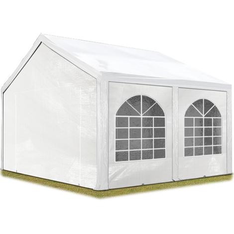 Tente Barnum de Réception 4x4 m PE Bâches amovibles 200-240 g/m² BLANC / Jardin Tonnelle Pavillon Chapiteau