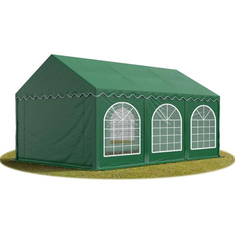 Tente Barnum de Réception 4x6 m PREMIUM Bâches Amovibles PVC env. 500g/m² vert fonce + Cadre de Sol Jardin