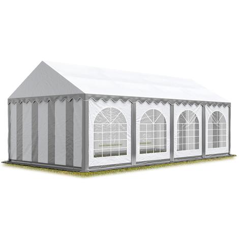 Tente Barnum de Réception 4x8 m ignifugee PREMIUM Bâches Amovibles PVC env. 500g/m² gris-blanc Cadre de Sol Jardin