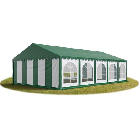 Tente Barnum de Réception 5x10 m PREMIUM Bâches amovibles PVC env. 500g/m² vert-blanc + Cadre de Sol Jardin