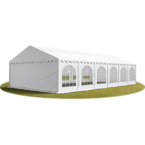 Tente Barnum de Réception 6x12 m PREMIUM Bâches Amovibles PVC env. 500g/m² blanc + Cadre de Sol Jardin