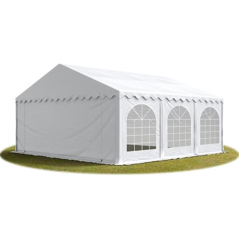 Tente Barnum de Réception 6x6 m PREMIUM Bâches Amovibles PVC env. 500g/m² blanc + Cadre de Sol Jardin