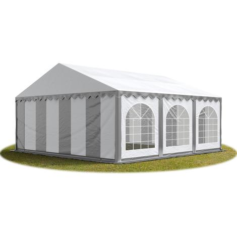 Tente Barnum de Réception 6x6 m PREMIUM Bâches Amovibles PVC env. 500g/m² gris-blanc + Cadre de Sol Jardin