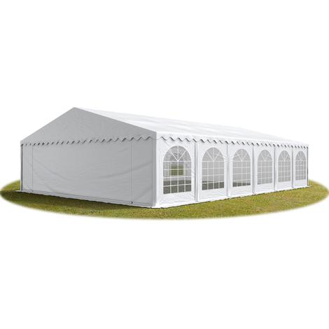 Tente Barnum de Réception 8x12 m ignifugee PREMIUM Bâches Amovibles PVC 500 g/m² blanc Cadre de Sol Jardin
