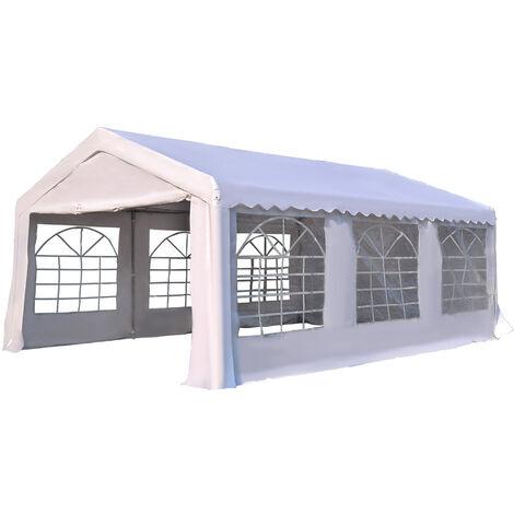 Tente barnum tonnelle de réception 6L x 4l x 2,8H m 6 fenêtres 2 portes acier galvanisé robuste PE imperméable blanc