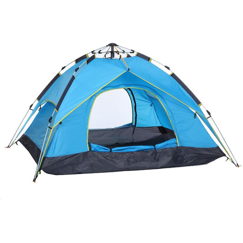 Tente de camping 3-4 personnes grande tente familiale automatique à ouverture rapide imperméable anti-ultraviolets tente de plage tente de camping de