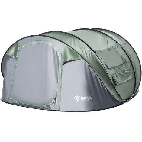 """main image of """"Tente de camping 4-5 personnes montage instantanée pop-up 2 portes enroulables 4 fenêtres dim. 2,63L x 2,2l x 1,23H m fibre verre polyester PE vert gris"""""""