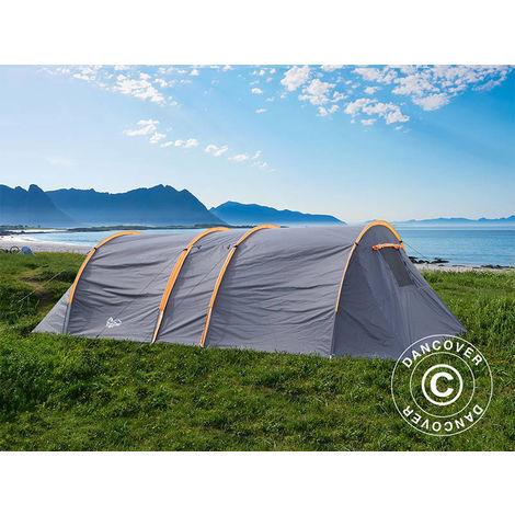 Tente de camping, TentZing® Tunnel, 6 personnes, orange/gris foncé