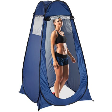 tente de douche camping, Pop Up, HxLxP: 190 x 120 x 120 cm, cabine d'essayage, étanche, compacte, UV 50+, bleu