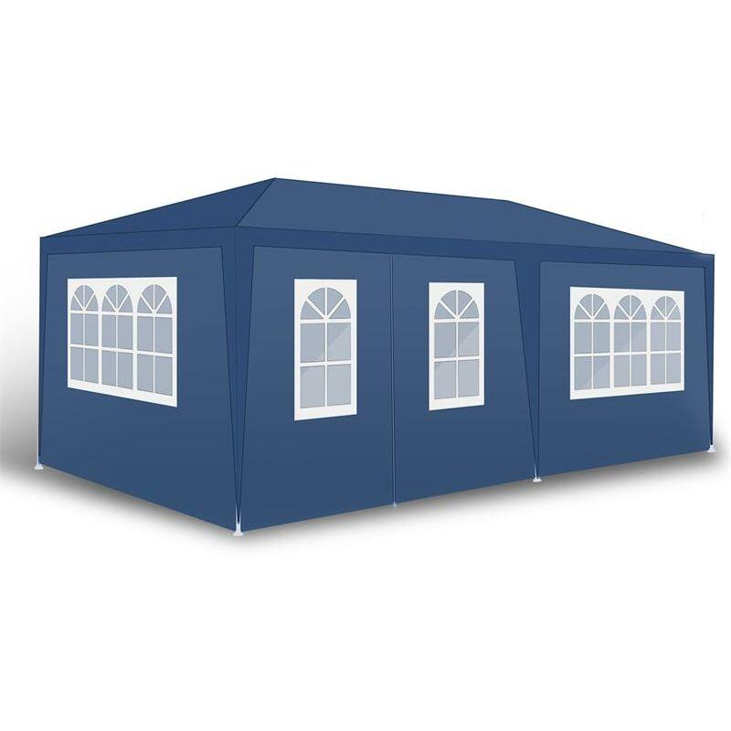 Tente de fête de pavillon Tente de jardin Pavillon de jardin Murs latéraux Blau / 300x600x240cm mit 4 Wänden