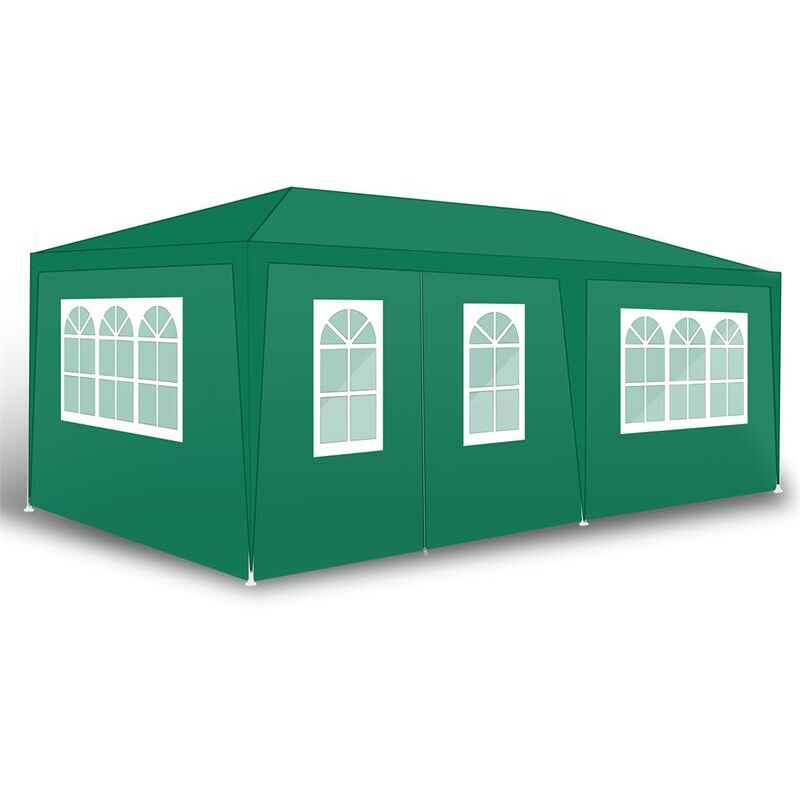 Tente de fête de pavillon Tente de jardin Pavillon de jardin Murs latéraux Grün / 300x600x240cm mit 4 Wänden