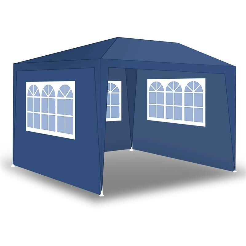 Tente de fête de pavillon Tente de jardin Pavillon de jardin Murs latéraux Blau / 300x300x240cm mit 3 Wänden