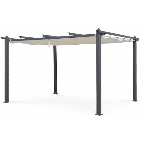 Tente de jardin, pergola aluminium 3x4m Condate écru, toile rétractable, toile coulissante, tonnelle, abri de terrasse