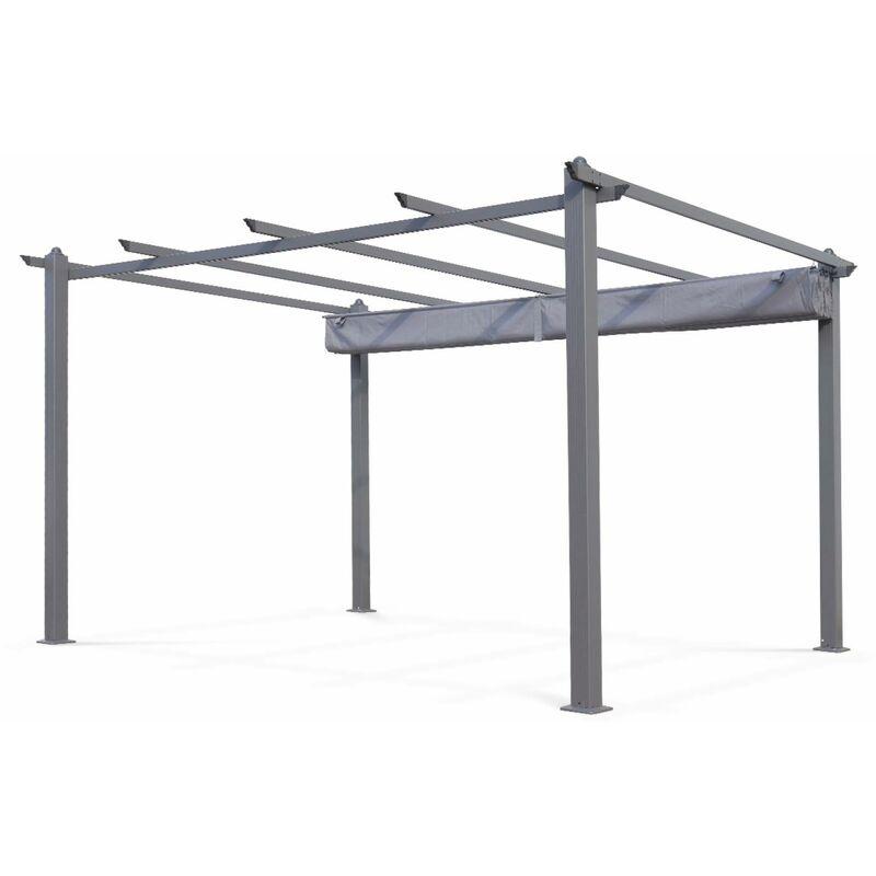 Tente De Jardin Pergola Aluminium 3x4m Condate Gris Toile Rétractable Et Coulissante Tonnelle Abri De Terrasse