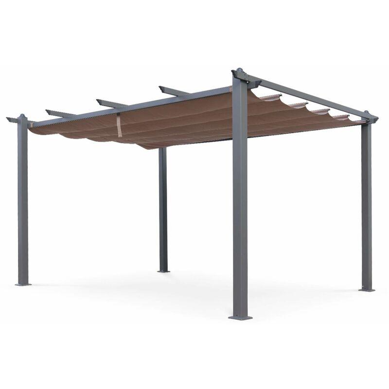 Tente De Jardin Pergola Aluminium 3x4m Condate Taupe Toile Rétractable Et Coulissante Tonnelle Abri De Terrasse