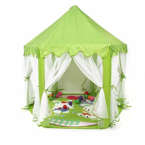 Tente de Jeu Enfant, Tente de Jeu, avec Filet,Tente Princesse Château de Intérieur & Extérieur, pour 3 Enfants Maximum, 140 x 120 x 135 cm, Vert - Vert