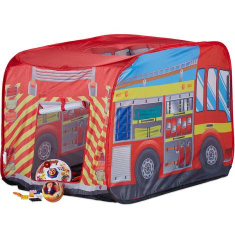 Tente de jeu enfants Camion pompiers filles garçons 3 ans pop up intérieur extérieur 70 x 110 x 70 cm, rouge