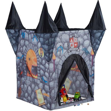 Tente de jeu enfants Château hanté tente filles et garçons pliable 3 ans HxlxP: 132 x 110 x 110 cm, gris