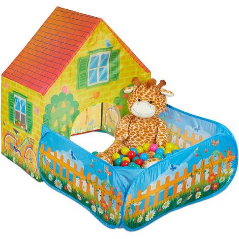 Tente de jeu, Piscine à balle, boules, maison jardin, Pop Up, dès 3 ans pliable, 110x90x146 cm, jaune