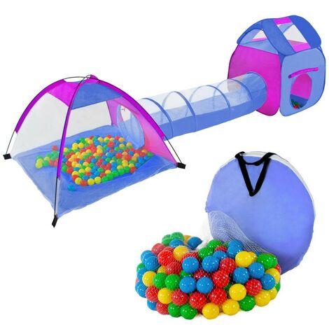 Tente de jeu pour enfants avec tunnel + 200 balles + sac de transport - Or