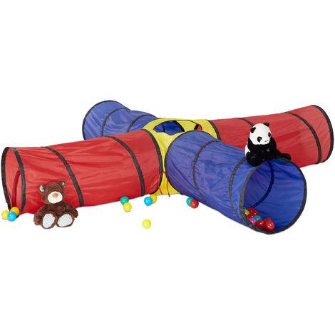 Tente de jeu Tunnel XXL set de 3 pièces tunnel enfant rampant chenille Pop Up extérieur intérieur, coloré