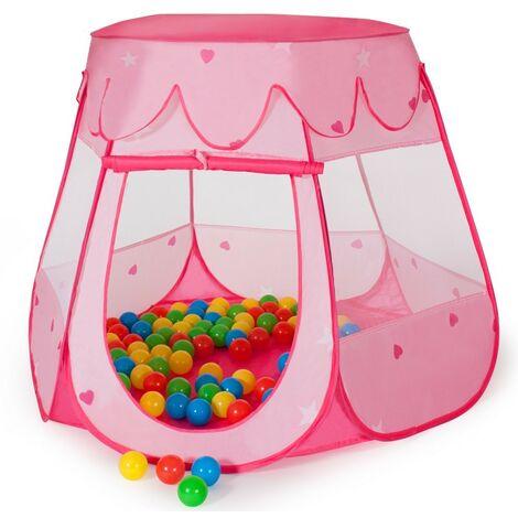 Tente de jeux enfants rose + 100 balles + sac de transport - Or