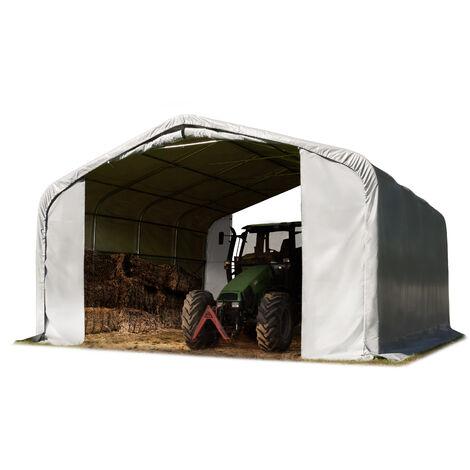 Tente de pâturage env. 6x6m bâche en PVC env. 550g/m² abri résistant aux intempéries tente de stockage gris ancrage pour sol meuble