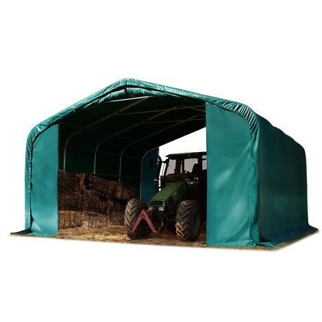 Tente de pâturage env. 6x6m bâche en PVC env. 550g/m² abri résistant aux intempéries tente de stockage vert ancrage pour sol meuble