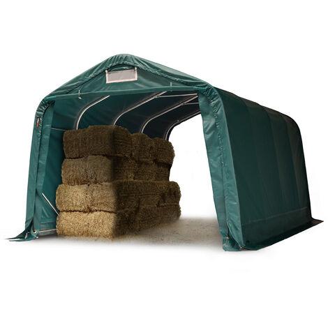 Tente de pâturage robuste 3,3x4,8 m étanche bâche PVC env. 550g/m² abri pour chevaux écurie ouverte, vert