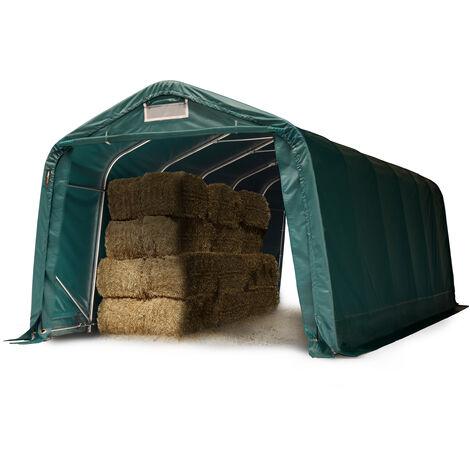 Tente de pâturage robuste 3,3x7,2 m ignifugée env. 720g/m² Bâche PVC, abri de pâturage pour chevaux chèvres, vert