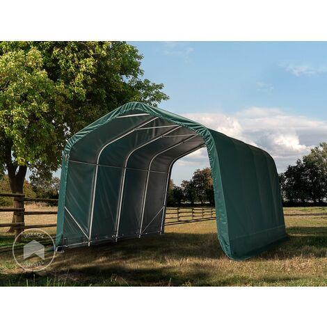 Tente de pâturage Robuste 3,3x9,6 m étanche bâche PVC 550g/m² abri pour Chevaux poneys écurie Ouverte, Vert