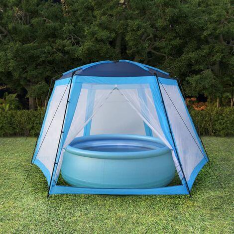 Tente de piscine Tissu 590x520x250 cm Bleu