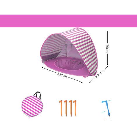 Tente de plage pour bébé UPF 50+ résistante aux UV, tente escamotable pour enfants avec mini piscine et auvent, abri de plage aéré, tente portable pour enfants intérieure extérieure extérieure, piscine indépendante, rayures roses