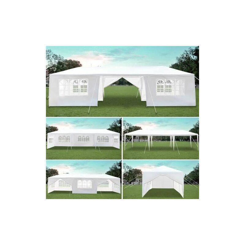 Tente de réception et barnum Pavillon partyzelt 3x9m blanc, flexible partyzelt pavillon flexible pavillon étanche pavillon de jardin, 8 c?tés