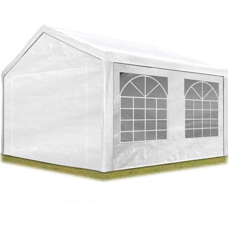 Tente de réception 3x4 m pavillon blanc bâche PE épaisse de 180 g/m² imperméable tente de jardin