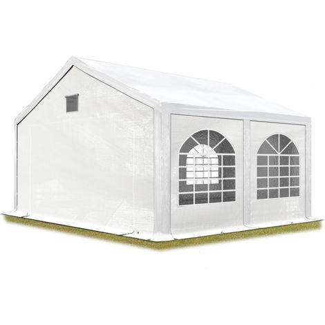 Tente de réception 3x4 m Tente de Jardin Blanc bâche PE env. 300 g/m² imperméable résistante aux UV avec Cadre de Sol