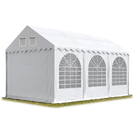 Tente de réception 3x6 m H. 2,6m blanc PVC env. 550g/m² pavillon 100% imperméable