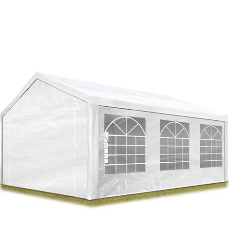 Tente de réception 3x6 m pavillon blanc bâche PE épaisse de 180 g/m² imperméable tente de jardin