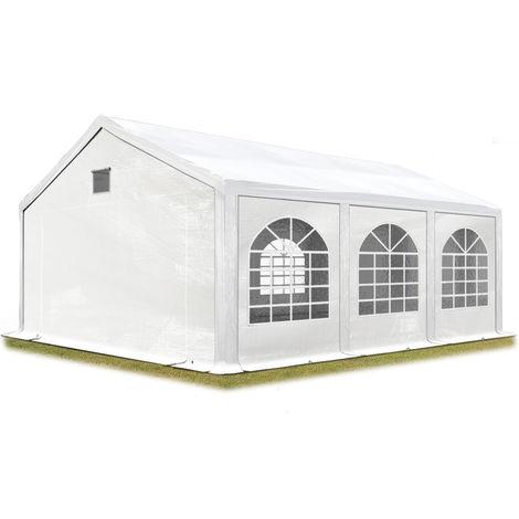 Tente de réception 3x6 m Tente de Jardin Blanc bâche PE env. 300 g/m² imperméable résistante aux UV avec Cadre de Sol