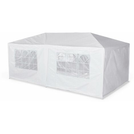 Tente de réception 3x6m Aginum toile blanche pergola barnum tonnelle chapiteau tente de jardin