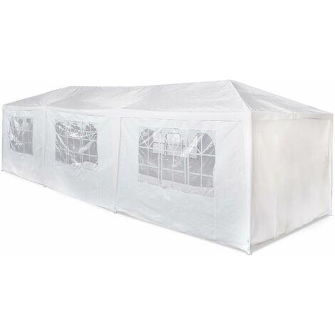 Tente de réception 3x9m Massilia toile blanche - 27 m² - pergola barnum tonnelle chapiteau tente de jardin