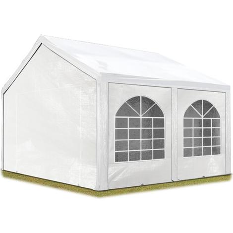 Tente de réception 4x5 m, toile de haute qualité 240g/m² PE blanc construction en acier galvanisé avec raccordement par vissage