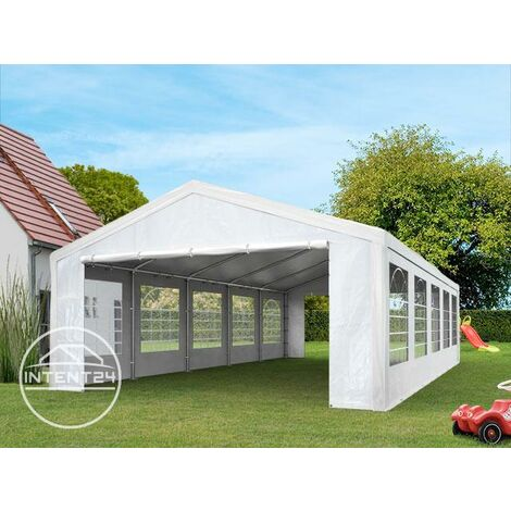 Tente de réception 4x8 m pavillon blanc bâche PE épaisse de 180 g/m² imperméable tente de jardin