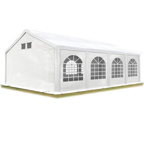 Tente de réception 4x8 m Tente de Jardin Blanc bâche PE env. 300 g/m² imperméable résistante aux UV avec Cadre de Sol