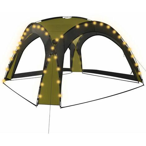 Tente de réception avec LED et 4 parois 3,6x3,6x2,3 m Vert