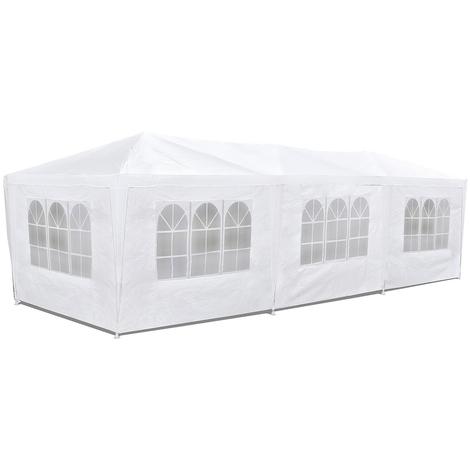 Tente de réception blanche 3x9 imperméable, résistant au vent et aux rayons UV