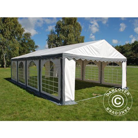 Tente de réception Original 4x8m PVC, Gris/Blanc