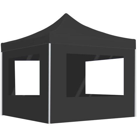 Tente de réception pliable à parois Aluminium 3 x 3m Anthracite
